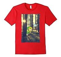 Nintendo Zelda Link And Navi Photo Real Forest Scene Shirts Red