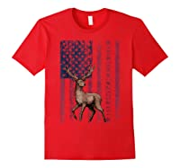 Best Buckin' Pappy Ever Us Flag Hunting Tshirt Fathers Gifts Red