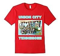 Lotta Shirts Union City Tennessee Postcard Greeting T Shirt Red