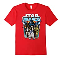 S Classic Comic Art Group Shot Darth Vader Shirts Red
