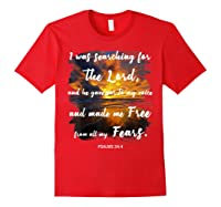 Christian Prayer Bible Verse Psalms 34 4 Quote T Shirt Red