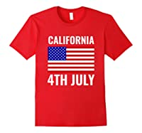 California Independence Day 4th July American Us Flag Gift Shirts Red
