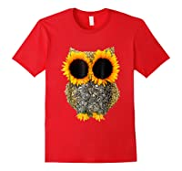 Owl Sunflower Shirt Funny Owl Lovers Shirt Red