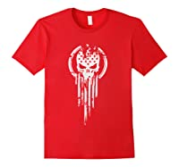 New American Warrior Flag Skull Military T-shirt Army Usa T-shirt Red