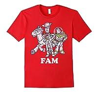 Disney Pixar Toy Story Woody Buzz Bullseye Fam Shirts Red