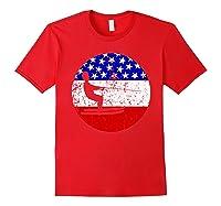 American Flag Waterskiing Vintage Retro Waterskiier Shirts Red