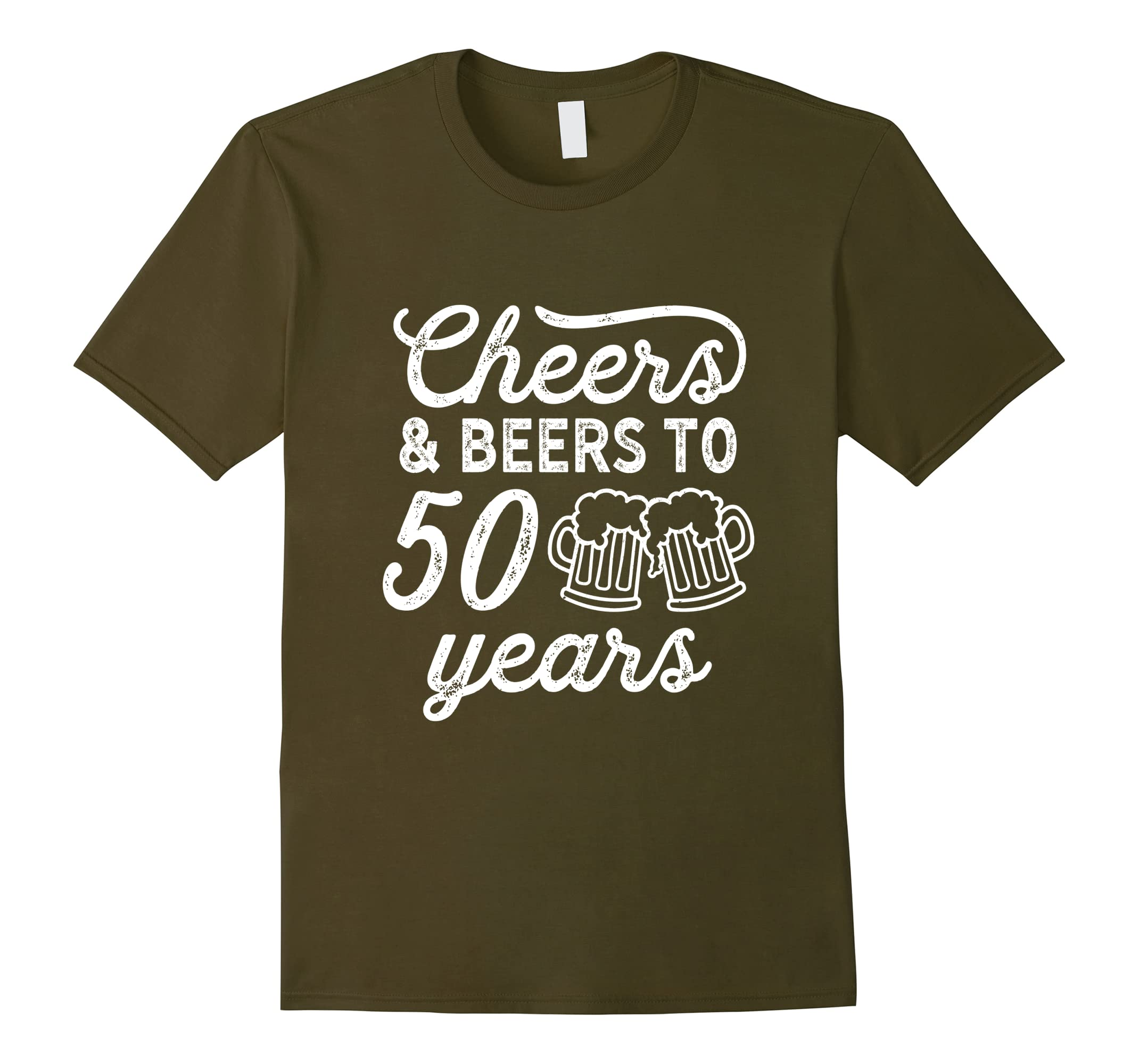 Cheers and Beers To 50 Year Shirt 50th Birthday Present Gift-RT