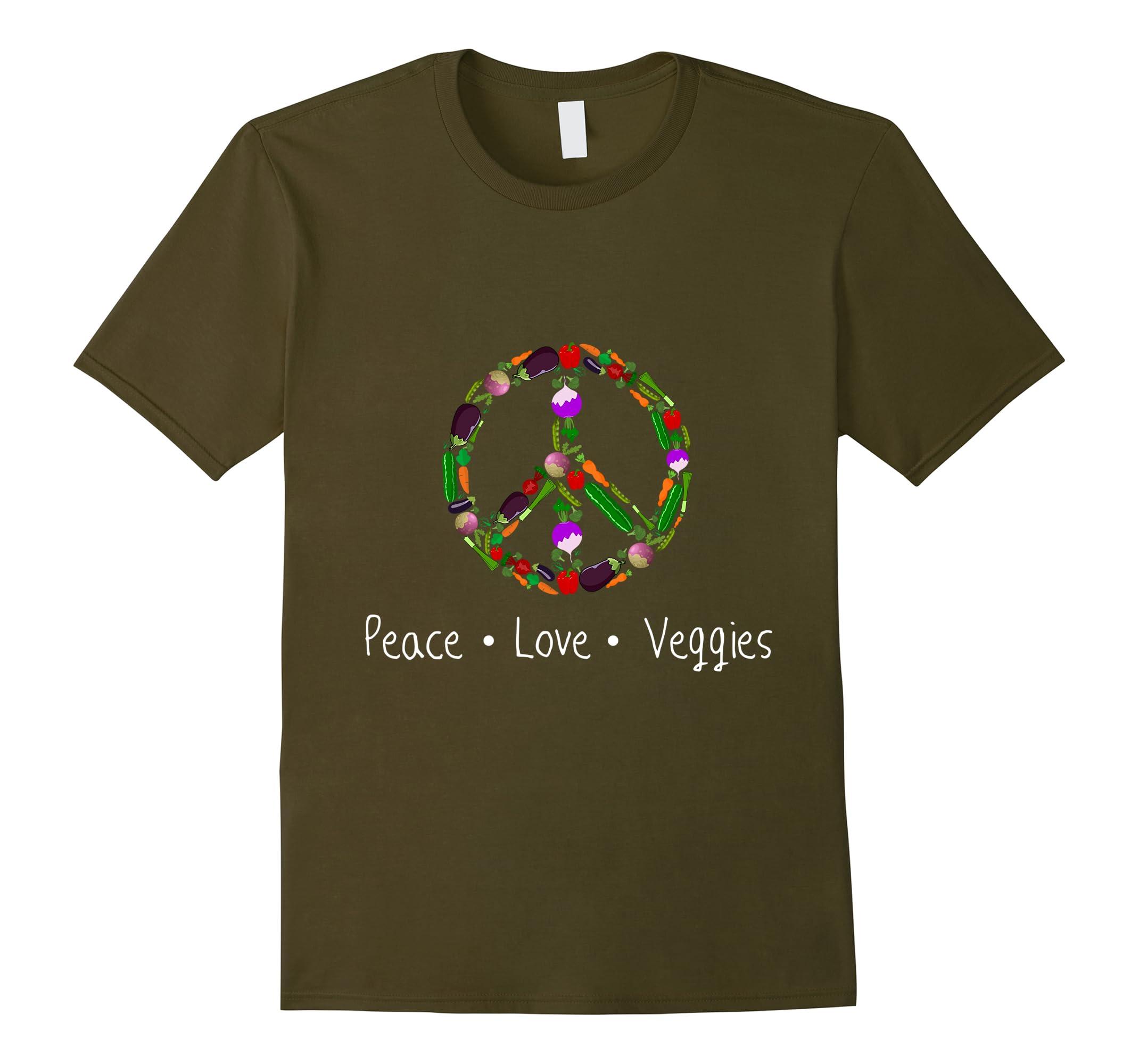 Peace Love Veggies T Shirt Vegan-Teesml