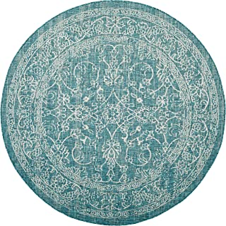 Safavieh Courtyard Collection CY8680-37221 Turquoise Round Indoor/ Outdoor Area Rug (6'7