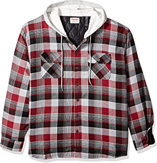 Authentics Men's Long Sleeve Quilted Lined Flannel Shirt Jacket with Hood