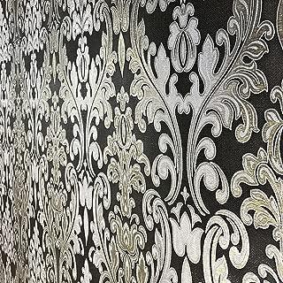 QUADRUPLE ROLL 113.52sq.ft (4 single rolls size) European Slavyanski wallcovering washable victorian pattern Vinyl Non-Woven Wallpaper Black silver gold gray textured stripe glitters metallic damask