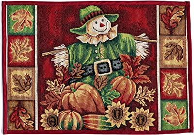 "HomeCrate Fall Harvest Collection, Tapestry Scarecrow Pumpkins Autumn Leaves and Sunflowers Design Area Rug, 19"" x 27"""