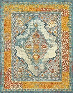 Unique Loom Vita Collection Traditional Over-Dyed Vintage Blue Area Rug (8' 0 x 10' 0)