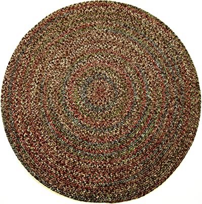 Sonya Indoor/Outdoor Round Reversible Braided Rug, 8-Feet, Brown Multicolor