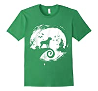 Cane Corso Halloween Costume Moon Silhouette Creepy T-shirt Forest Green