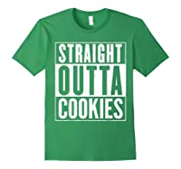 Straight Outta Cookies Distressed Vintage Funny Shirts Forest Green