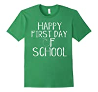 Happy First Day Of School 1st Tea Apple Cute Welcome T-shirt Forest Green