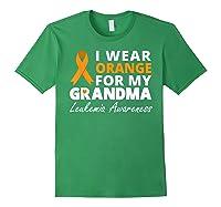 I Wear Orange For My Grandma T Shirt Ribbon Family Warrior Forest Green
