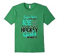 Hockey Shirt Fun Sugar And Spice Ice Hockey Girl Forest Green