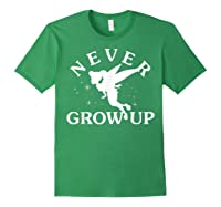 Disney Peter Pan Tinker Bell Never Grow Up Text Silhouette T-shirt Forest Green