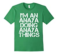 Anaya Funny Surname Family Tree Birthday Reunion Gift Idea T-shirt Forest Green