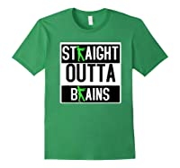Straight Out Of Brains Funny Zombie Halloween Shirts Forest Green