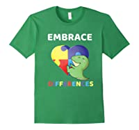 Embrace Differences Autism Awareness T Rex Dinosaur Cute Shirts Forest Green