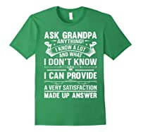 Ask Grandpa Anything Fathers Day Funny Gift T-shirt Forest Green