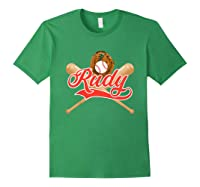 Baseball Player Rudy Birthday Boy T-shirt \\\'s Name Forest Green