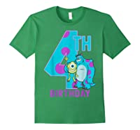 Pixar Monsters Inc Mike Sully Happy 4th Birthday Shirts Forest Green