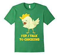 Yep I Talk To Chickens Shirt Farm Lover Dabbing Chicken T-shirt Forest Green