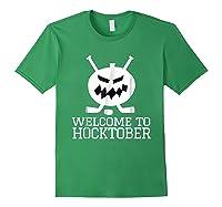 Halloween Hockey Pumpkin Welcome To Hocktober T Shirt Forest Green