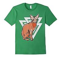 Vintage Geometric Sphynx Cat T-shirt Forest Green