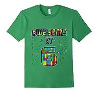6 Years Old Birthday Gift I Age 6 Build Blocks Bricks Theme T-shirt Forest Green