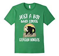 Just A Boy Who Loves Capuchin Monkeys T-shirt Forest Green