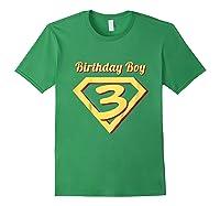 3rd Birthday Boy Gift Super Hero T-shirt Forest Green