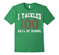 Funny Football 100th Day Of School Sports Out Tea Shirts Forest Green