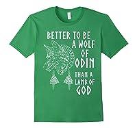 Vikings Wolf Rune Circle Wolf Of Odin Norse Mythology T-shirt Forest Green