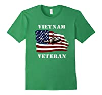 Vietnam Veterans Uh 1 Huey Helicopter American Flag Shirts Forest Green