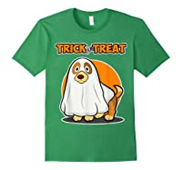 Dog Ghost Halloween Party Trick For Treat Shirts Forest Green