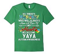 This Boy He Call Me Yaya Autism Awareness Shirts Forest Green