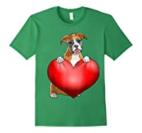 Valentines Day Dog Boxer Heart Gift Girl Shirts Forest Green