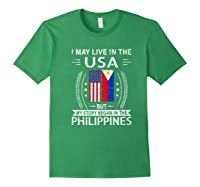 May Live N The Usa The Philippines Flag Shirts Forest Green