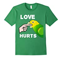 Love Hurts Yellow Head Amazon Parrot Biting Finger Shirts Forest Green