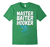 Master Baiter Hooker Dirty Fishing Humor Quote Shirts Forest Green