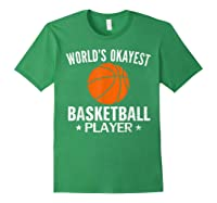 Vintage World's Okayest Basketball Player Funny Sports Gift Shirts Forest Green