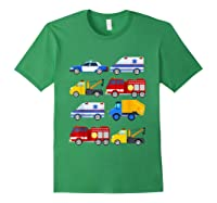 Emergency Vehicles Fire Truck Police Car Ambulance Tow Truck Shirts Forest Green