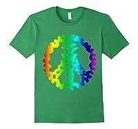 Butterflies Peace Sign Love Butterfly 60s Retro Hippie Gift T-shirt Forest Green