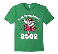 Awesome Since 2002 Ballerina Unicorn Birthday Rainbow Girls T-shirt Forest Green