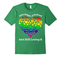 Funny 100th Day Of School Tea Heart Valentine Day Shirts Forest Green